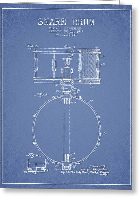 Snare Greeting Cards - Snare Drum Patent Drawing from 1939 - Light Blue Greeting Card by Aged Pixel