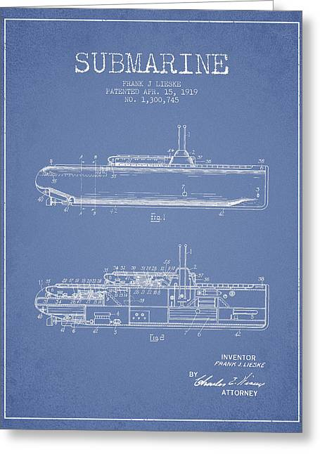 Submarines Greeting Cards - Vintage Submarine patent from 1919 Greeting Card by Aged Pixel
