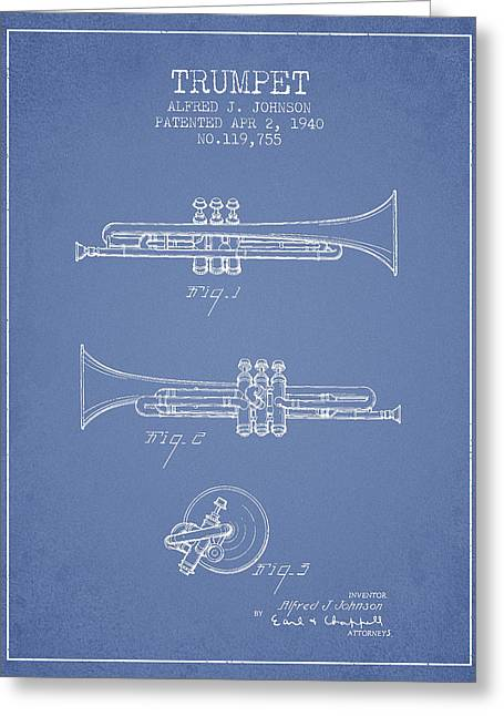 Trumpet Digital Greeting Cards - Vintage Trumpet Patent from 1940 - Light Blue Greeting Card by Aged Pixel