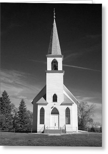 Mid West Landscape Art Greeting Cards - Vintage White Church Greeting Card by Donald  Erickson