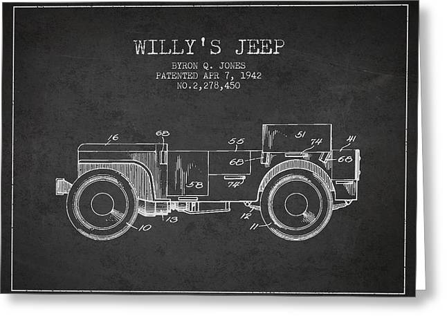 Cj6 Greeting Cards - Vintage Willys Jeep Patent from 1942 Greeting Card by Aged Pixel