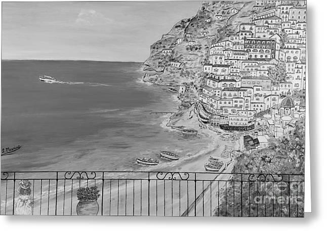 Naples Drawings Greeting Cards - Vista su Positano Greeting Card by Loredana Messina