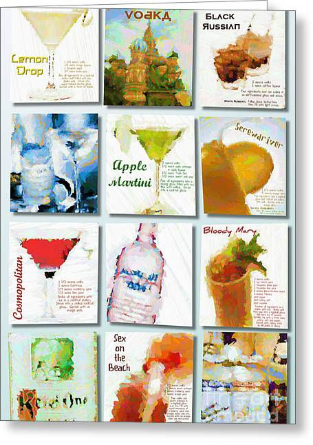 The Cocktail Hour Greeting Cards - Vodka Greeting Card by Laura Toth