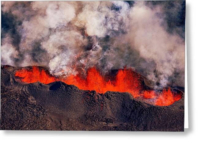 Natural Disaster Greeting Cards - Volcano Eruption At The Holuhraun Greeting Card by Panoramic Images
