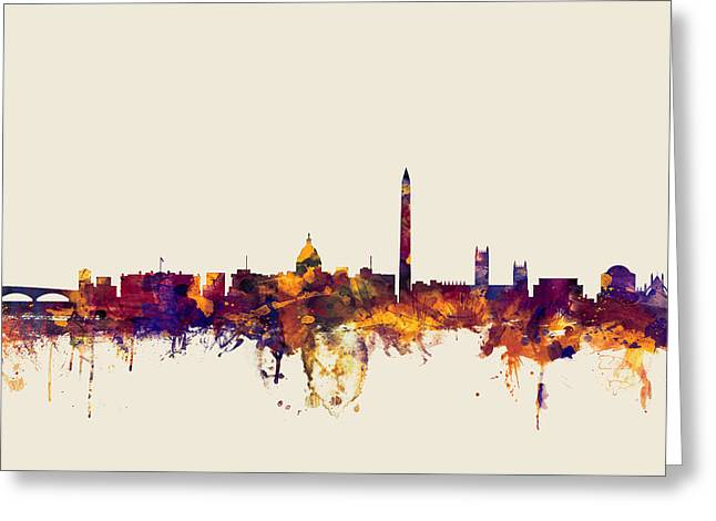 Washington D.c. Digital Art Greeting Cards - Washington DC Skyline Greeting Card by Michael Tompsett