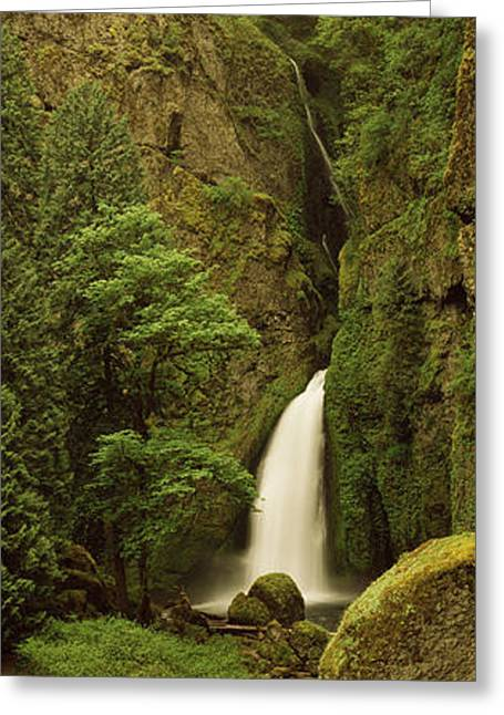 Hood River Greeting Cards - Waterfall In A Forest, Columbia River Greeting Card by Panoramic Images