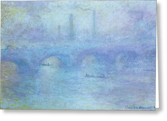 Foggy Bridge Greeting Cards - Waterloo Bridge Greeting Card by Claude Monet