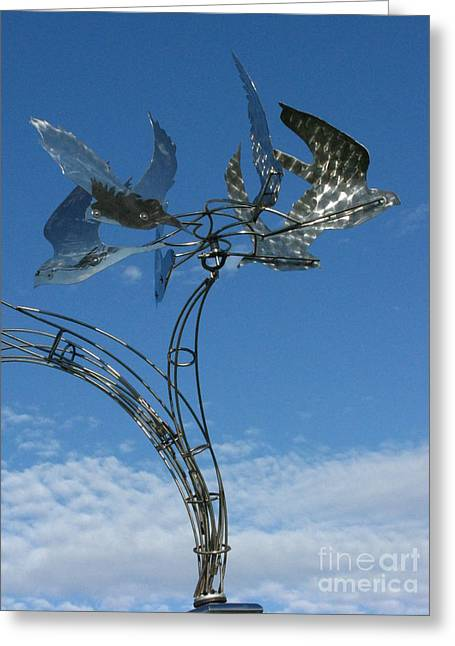 Steel Sculpture Greeting Cards - Whirlybird Greeting Card by Peter Piatt