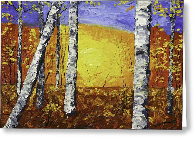 Painted Wood Paintings Greeting Cards - White Birch Tree Abstract Painting In Autumn Greeting Card by Keith Webber Jr