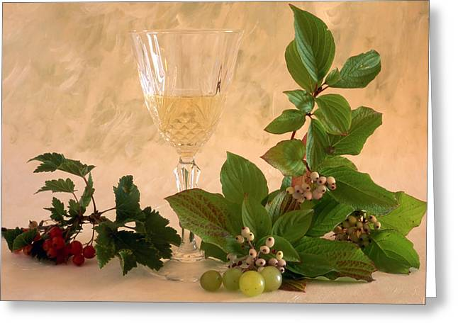 Grape Vineyard Greeting Cards - White Wine With Fruits Greeting Card by IB Photo