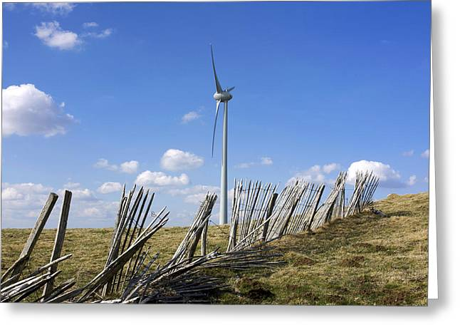 Enclosed Greeting Cards - Wind turbine Greeting Card by Bernard Jaubert