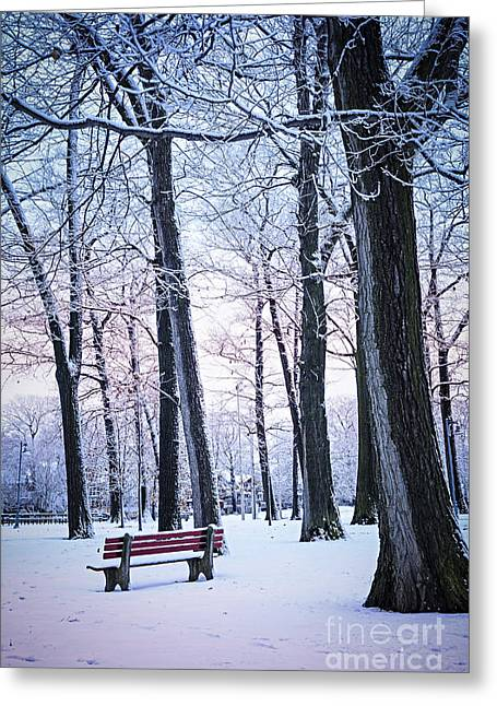 Park Benches Photographs Greeting Cards - Winter park Greeting Card by Elena Elisseeva