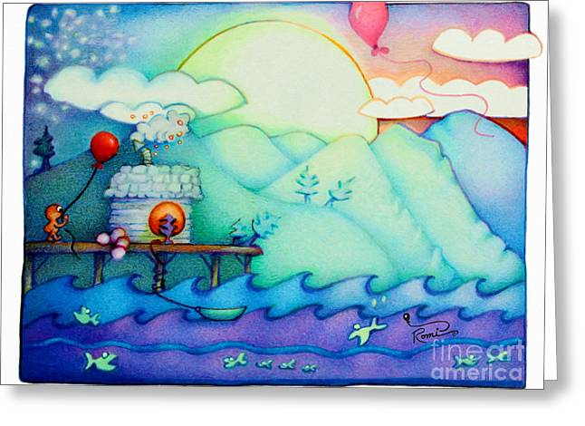 Docked Boat Greeting Cards - Woobies Character Baby Art Colorful Whimsical Design by Romi Neilson Greeting Card by Megan Duncanson
