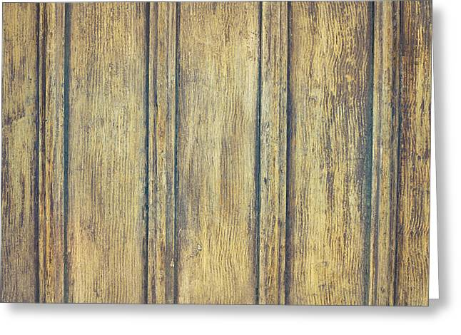 Veneer Greeting Cards - Wooden background Greeting Card by Tom Gowanlock