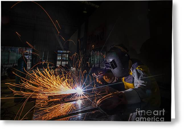 Construction Helmet Greeting Cards - Worker Welding  Greeting Card by Anek Suwannaphoom