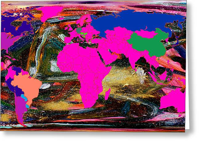 Value Digital Art Greeting Cards - World Map and Human Life Greeting Card by Augusta Stylianou