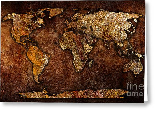 Atlas Greeting Cards - World Map Greeting Card by Marvin Blaine