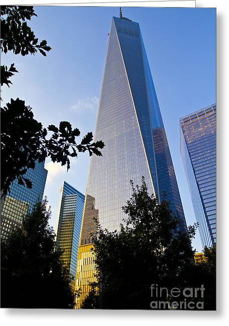 Soaring Tower Greeting Cards - World Trade Center Freedom Tower in Lower Manhattan New York Cit Greeting Card by ELITE IMAGE photography By Chad McDermott