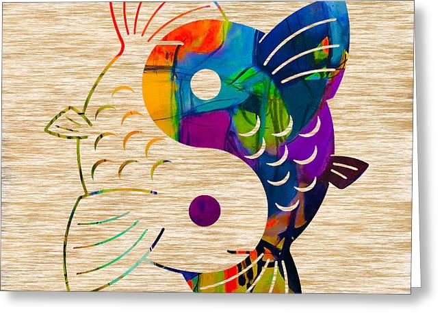 Yin-yang Greeting Cards - Yin Yang Koi Greeting Card by Marvin Blaine