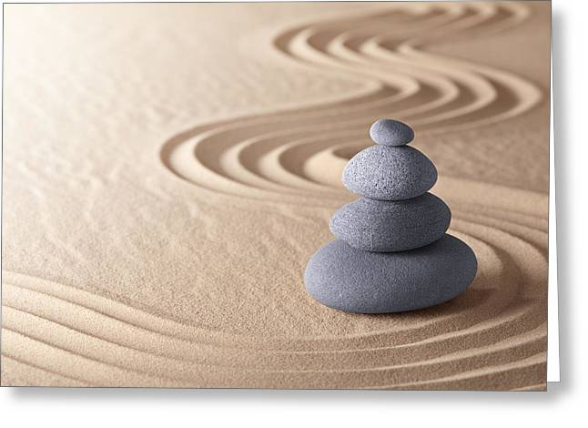 Concentration Greeting Cards - Zen Meditation Garden Greeting Card by Dirk Ercken