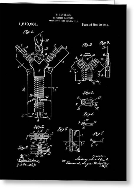 Electrical Engineer Greeting Cards - Zipper Patent 1914 - Black Greeting Card by Stephen Younts