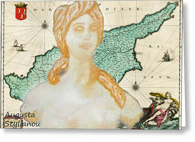 Posters Of Women Greeting Cards - Ancient Cyprus Map and Aphrodite Greeting Card by Augusta Stylianou