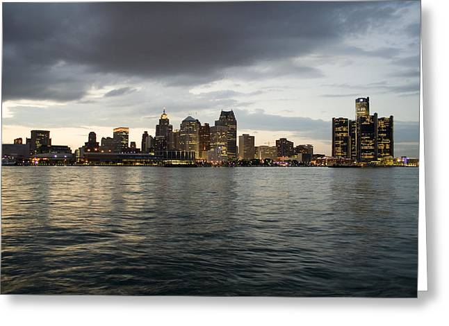 Renaissance Center Greeting Cards - Detroit Skyline Greeting Card by Gary Marx