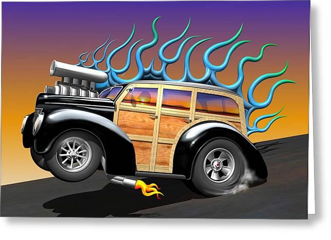 Funny Cartoon Digital Art Greeting Cards - 40 Ford Woody Greeting Card by Stuart Swartz