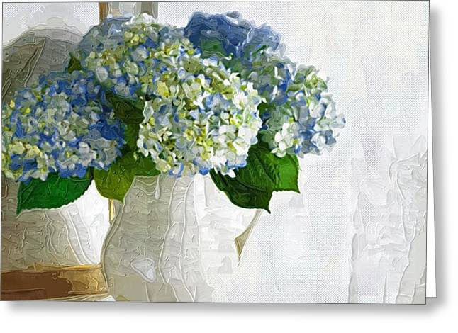 Printables Greeting Cards - Painting Flowers on Canvas Greeting Card by Victor Gladkiy