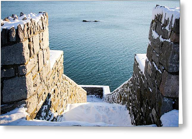 40 Steps In Winter Greeting Card by Allan Millora