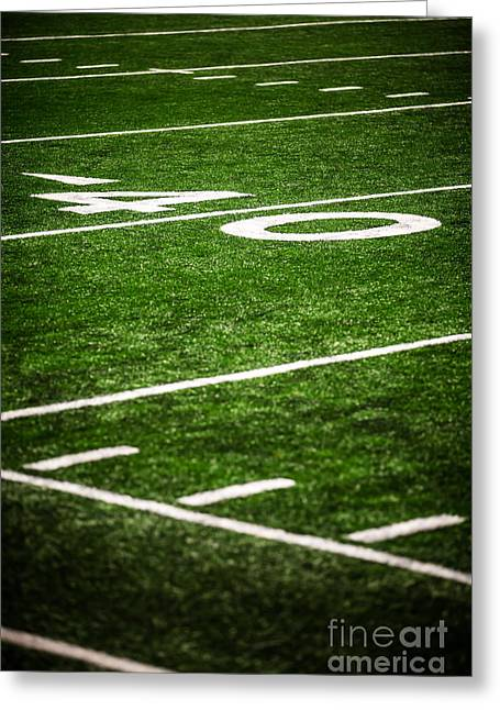 Forty Greeting Cards - 40 Yard Line on a Football Field Greeting Card by Paul Velgos