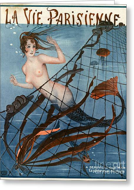 Underwater Mermaid Greeting Cards - 1920s France La Vie Parisienne Magazine Greeting Card by The Advertising Archives