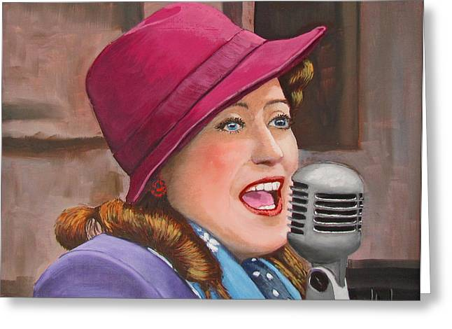40s Paintings Greeting Cards - 40s SINGER Greeting Card by Kevin Hughes
