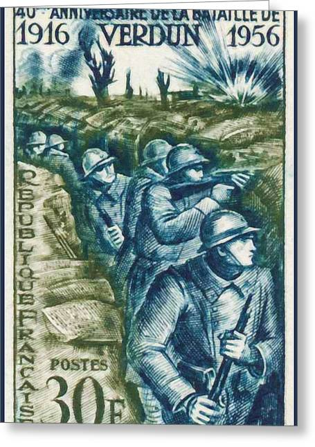 Verdun Connections Greeting Cards - 40th ANNIVERSARY OF THE BATTLE OF VERDUN 1916-1956 Greeting Card by Lanjee Chee