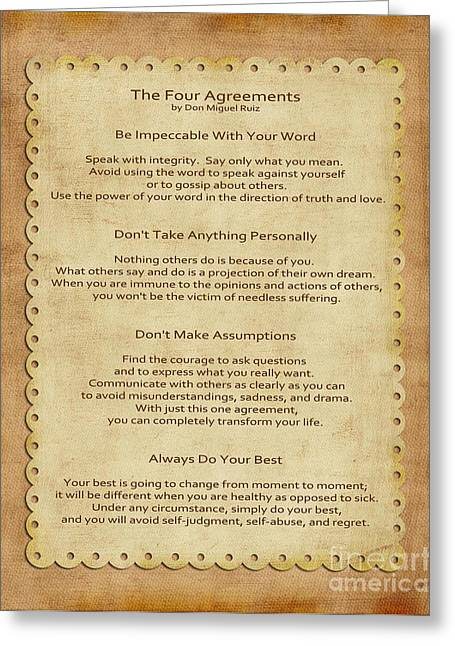 Wisdom Greeting Cards - 41- The Four Agreements Greeting Card by Joseph Keane