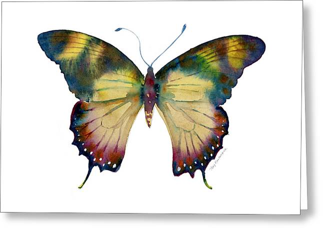 Background Paintings Greeting Cards - 41 Yellow Kite Butterfly Greeting Card by Amy Kirkpatrick