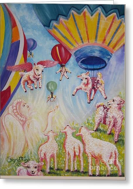Bedtime Stories Greeting Cards - 411 Chloes Balloon Party Greeting Card by Sigrid Tune
