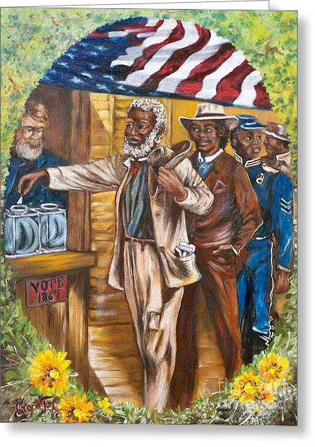African American History Paintings Greeting Cards - 412  The First Vote - 1867 Greeting Card by Sigrid Tune