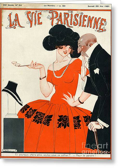 Magazine Cover Drawings Greeting Cards - 1920s France La Vie Parisienne Magazine Greeting Card by The Advertising Archives