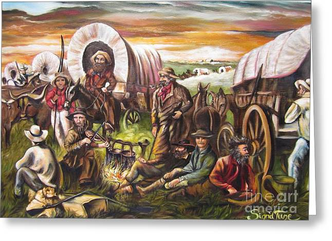 American Cowboy Artist Greeting Cards - 415 Pilgrims on the Plains Greeting Card by Sigrid Tune