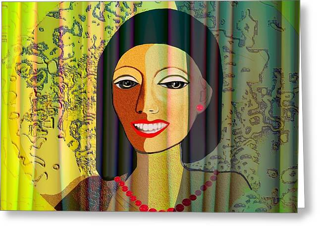 Woman With Black Hair Greeting Cards - 416 - Lady with nice teeth Greeting Card by Irmgard Schoendorf Welch