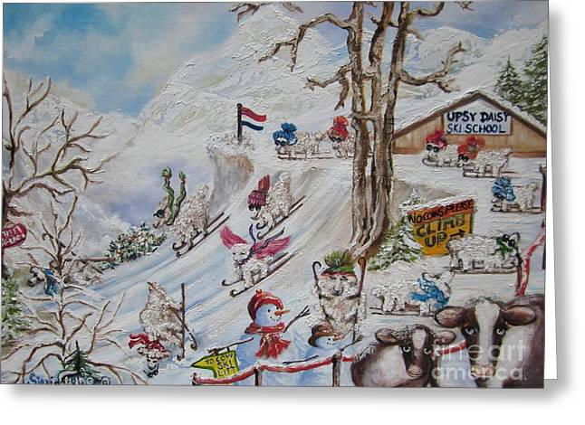 Ski Art Greeting Cards - 418 Chloe at The Upsy - Daisy SKI School Greeting Card by Sigrid Tune