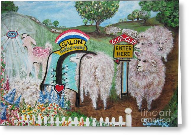 Scissors Paintings Greeting Cards - 419 Chloes Clip-Clip SALON  Greeting Card by Sigrid Tune
