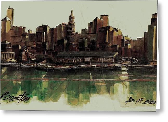 Fineartamerica Greeting Cards - Boston Skyline Greeting Card by Diane Strain