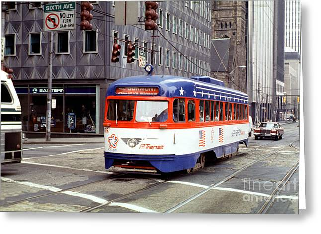 Pcc Greeting Cards - 42 Dumont PCC BiCentennial Trolley 1791 Pittsburgh Greeting Card by Wernher Krutein