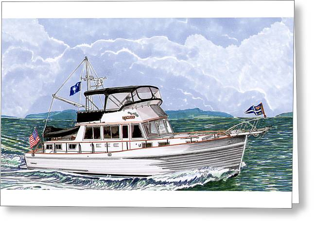 Yacht Club Greeting Cards - 42 Foot Grand Banks Motoryacht Greeting Card by Jack Pumphrey