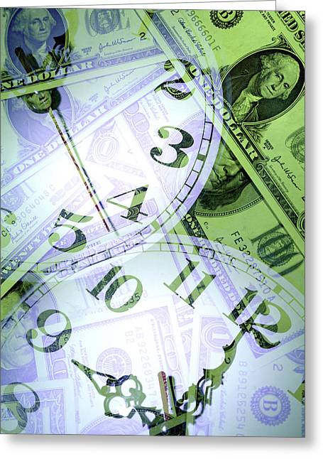 Metaphor Greeting Cards - Time is money  Greeting Card by Les Cunliffe