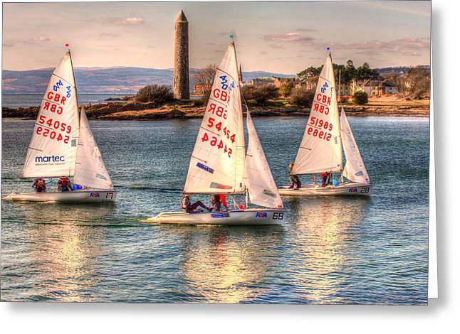 Pencil On Canvas Photographs Greeting Cards - 420 Class Dinghy Race at Largs Greeting Card by Tylie Duff