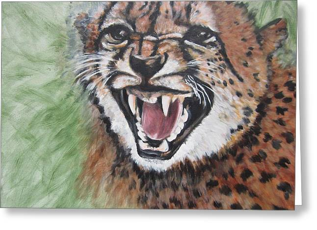 Growling Paintings Greeting Cards - 420 Growling Baby Cheetah Greeting Card by Sigrid Tune