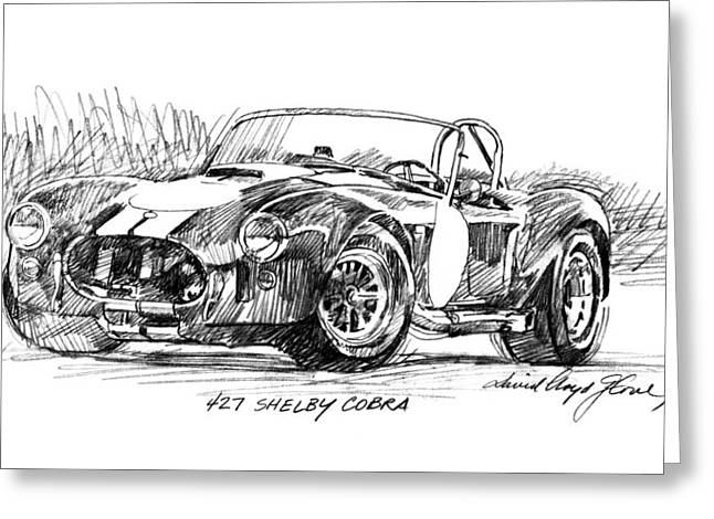 Carroll Shelby Drawings Greeting Cards - 427 Shelby Cobra Greeting Card by David Lloyd Glover